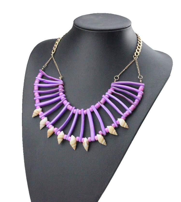 S30152H High End Modern Hand Weaved Conch Necklace Personality Tassels Neclace