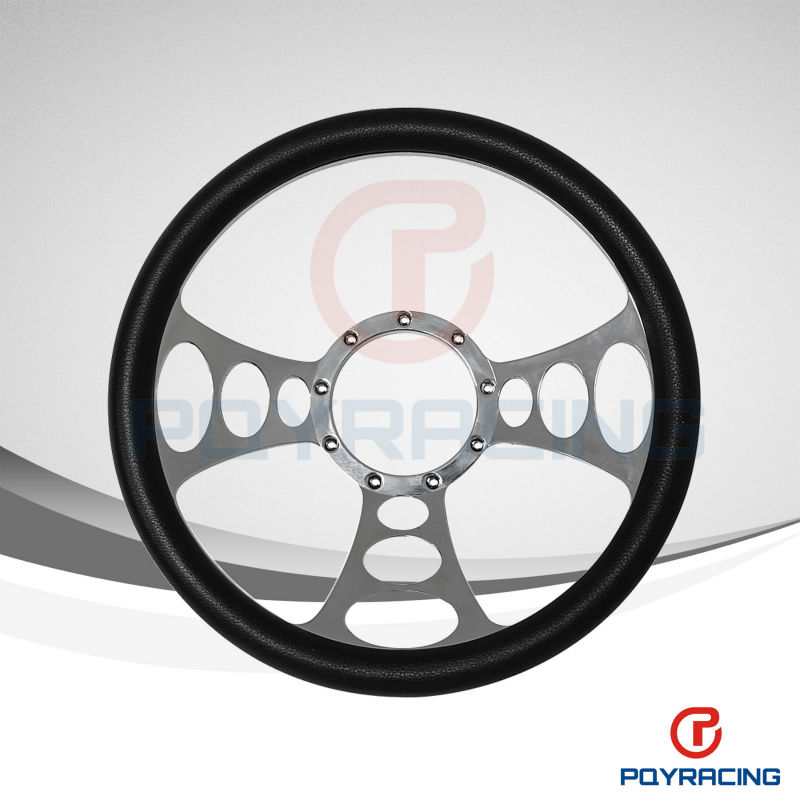 "14"" UNIVERSAL BILLET ALUMINUM 9 HOLE STEERING WHEEL WITH PVC WRAP"