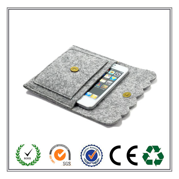 Alibaba Express Mobile Felt Phone Wallet Case With High Quality Snap Button