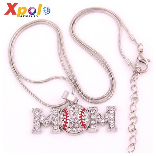 wholesale fashion Sport Mom Baseball pendant Necklace Jewelry