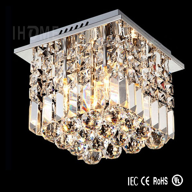 Contemporary square rain drop clear ceilling light lamp bathroom prism crystal chandelier