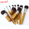 yaeshii Pro 11Pcs Makeup Brushes Cosmetics Tools Bamboo Handle Eyeshadow Cosmetic Makeup Brush Set