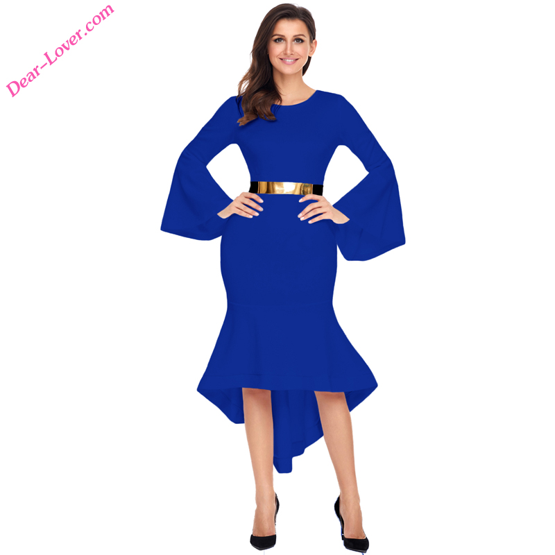 New Fashion Royal Blue Bell Sleeve Dip Hem Belted Dress Ladies