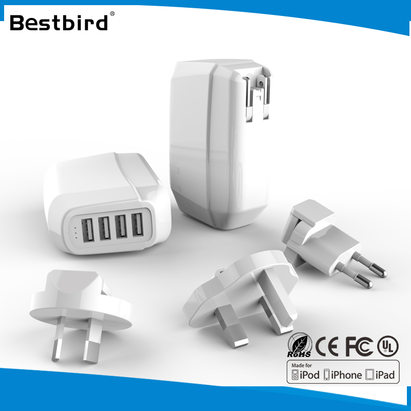 HLT Wholesale Customized 4 port phone charger EU US Plug 5V 6.8A Universal Micro USB Wall Charger For iphone