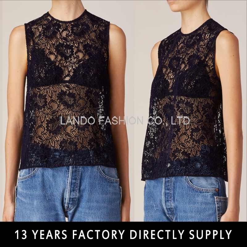 Ladies lace tops for women 2016 sleeveless latest design sexy net tops for girls