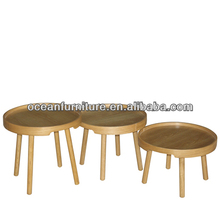 IKEA STYLE new round pallet oak frame 3 size Coffee table SET