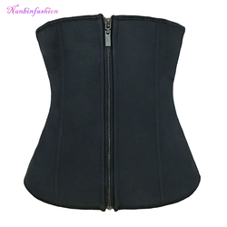 Black Latex slimming waist trainer corset with zipper and hooks