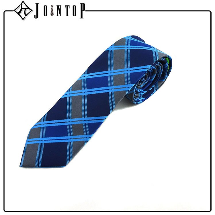High quality blue plaid turkey necktie manufacture