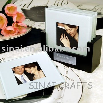 Glass Photo Frame Coaster with Wooden Holder Favors