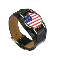 American Flag Metal Golf Ball Marker with Bracelet Black Leather Watchband- Golf Accessories Novelty Gifts