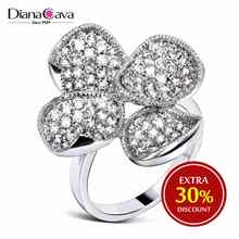 Fancy Lady Jewelry Clover Leaf Design CZ Stones Wedding Deluxe White Gold Ring