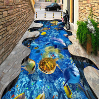 WaterProof Vinyl Floor Mural 3D Underwater Wallpaper mural Fireproof mural de 3d