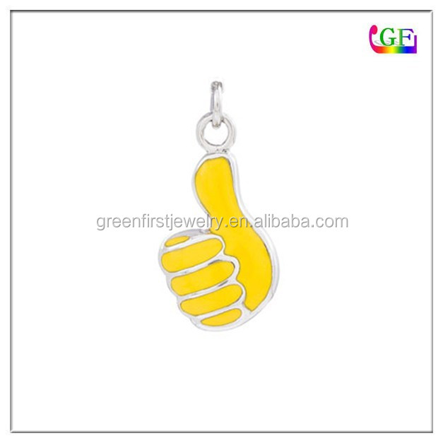 Enamel Yellow Thumbs Up Charm Sign Language