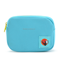 cute blue waterproof neoprene earphone bag, multifunction mini neoprene coin bag