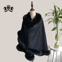 Women Winter Natural Real Fur Cashmere Poncho Wedding Genuine Fox Fur Cape