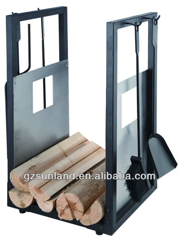 5-pcs fireplace tools set,with log carrier,stainless steel& black