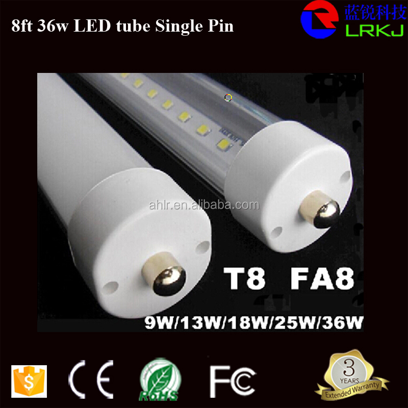 CE UL listed 2400mm 8ft led tube t8 36w, 8ft led bulb tube UL 8 foot Single-pin 96 inche led tube light 2400mm/2.4m