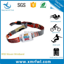 NFC disposable hf woven fabric rfid woven wristband for festival party