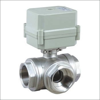 3 way horizontal stainless steel  electric motor control ball valve