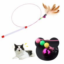 Pet Cat Kitten Funny Interactive Toys With Feather Bells Retractable Plastic Wand Rod Flying Teaser Exerciser Catcher Playing
