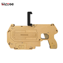 Hot Selling !! bluetooth shooting game player g15 wood controller AR game gun as kids gun shape toy