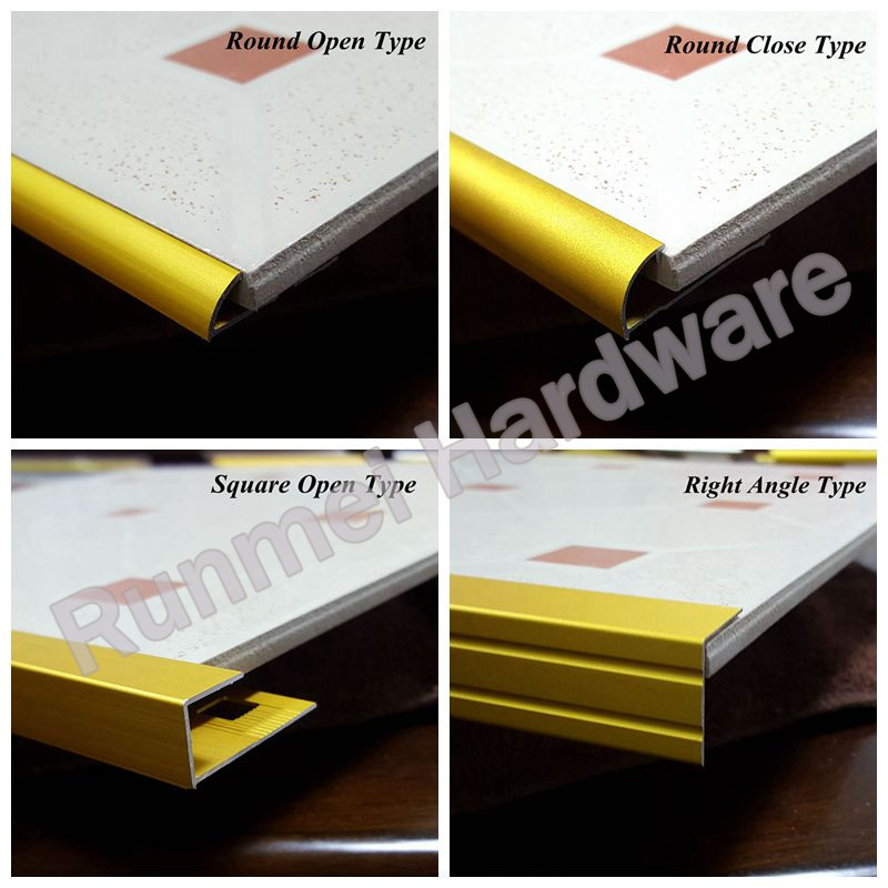 easy clean anodized chemically brightened tile trim profile