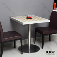 solid surface cafeteria Dining Tables ,White artificial stone KFC Table , Fast Food Table Furniture