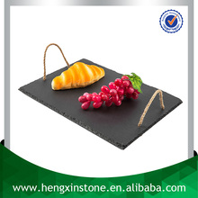Decorative Natural Edge 40*25cm Rectangle Black Luxury Slate Banquet Snack Serving Tray With Jute Rope Handle