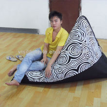 Triangle shape outdoor canvas bean bag lounge chair