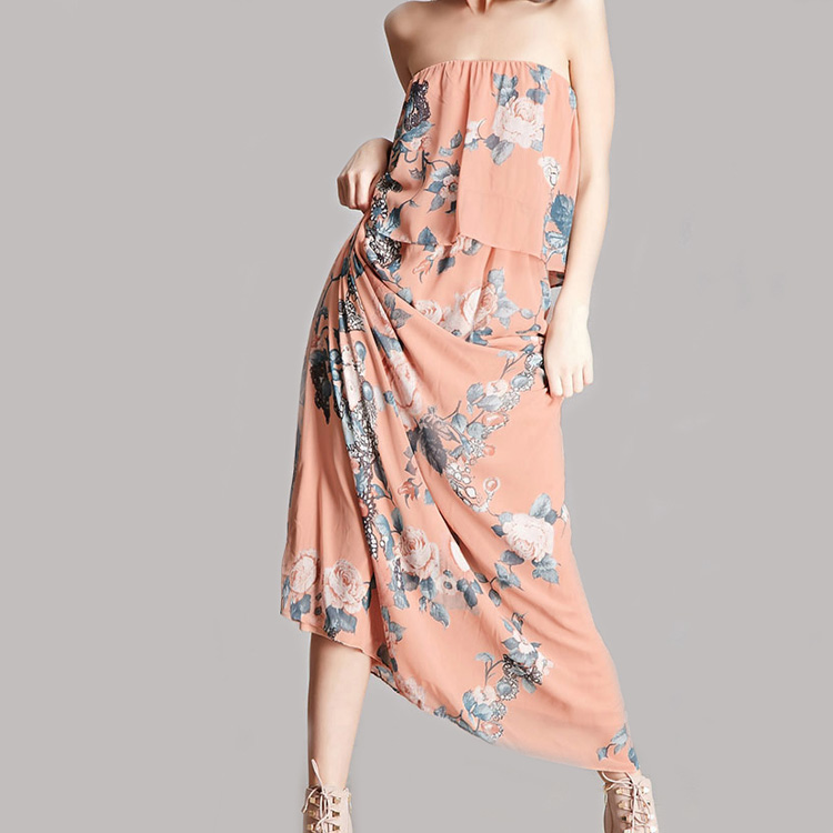 Chinese clothing companies sleeveless latest design urban women new floral chiffon dress