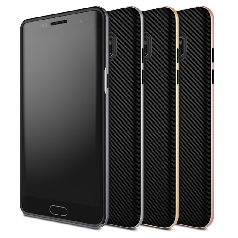 Slim PC frame + TPU Silicone phone case for Samsung Galaxy note 7 carbon fiber texture back cover