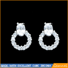 design round stud earring platinum plated