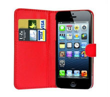 New hot sell PU wallet leather case for iphone 5 case cover for iphone 5 case, Laudtec free shipping