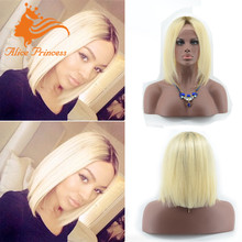 Glueless Smooth No Chemical Process Human Hair Short Blonde Silk Top Full Lace Wigs Bright Remy Hair Bob Wig