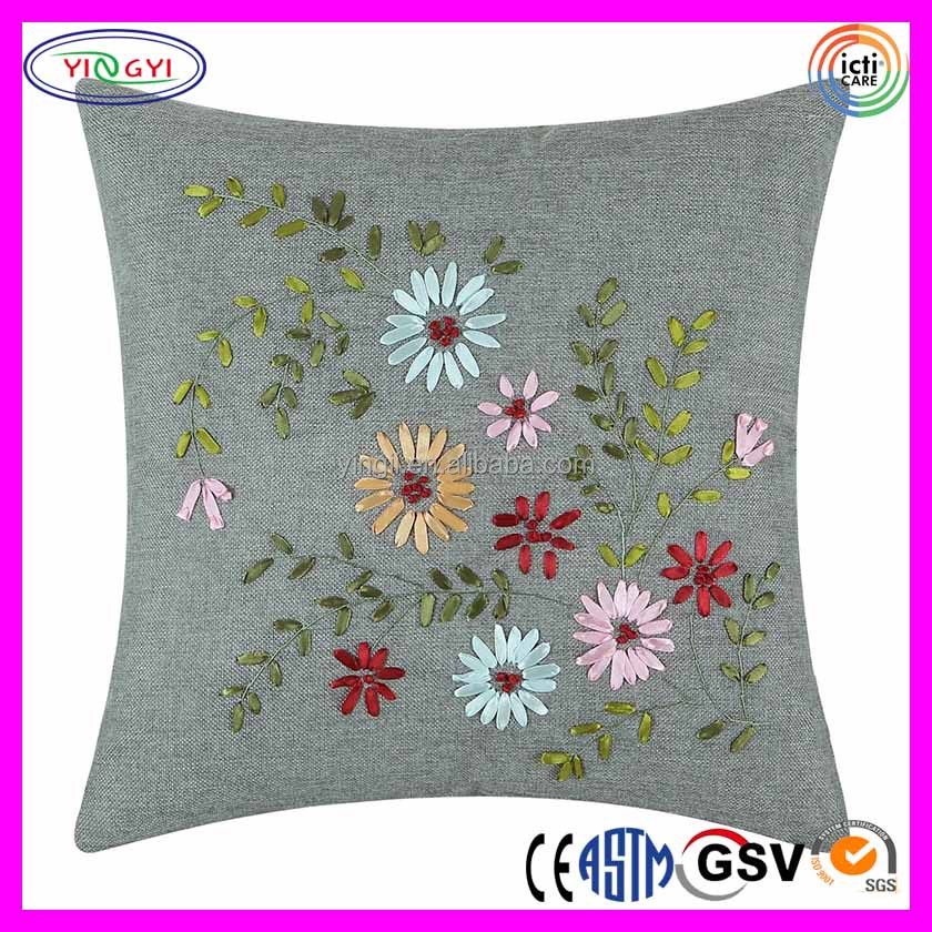 E917 Ribbon Embroidered Home Decor Cushion Pillows Faux Linen Blooming Floral Ribbon Embroidery Cushion