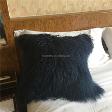 Custom Popular Nave blue Curly sheep fur cushion for living room