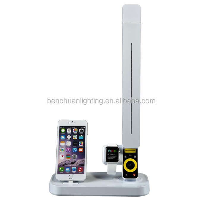 New products 2016 plastic black office table lamp led with Iphone5/6/6S docking station, Apple watch holder, four CCT USB
