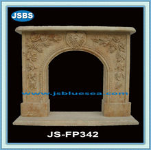 Simple Grape Carved Yellow Marble Fireplace Shelf Mantel