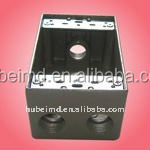 aluminum sand cast boxes with lock and key with 2 inch depth, four holes, Aluminum