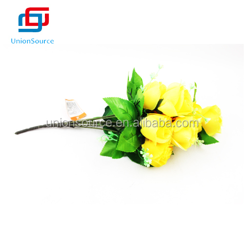 Yellow Cheap Artificial Plastic Flowers For Wedding Decoration