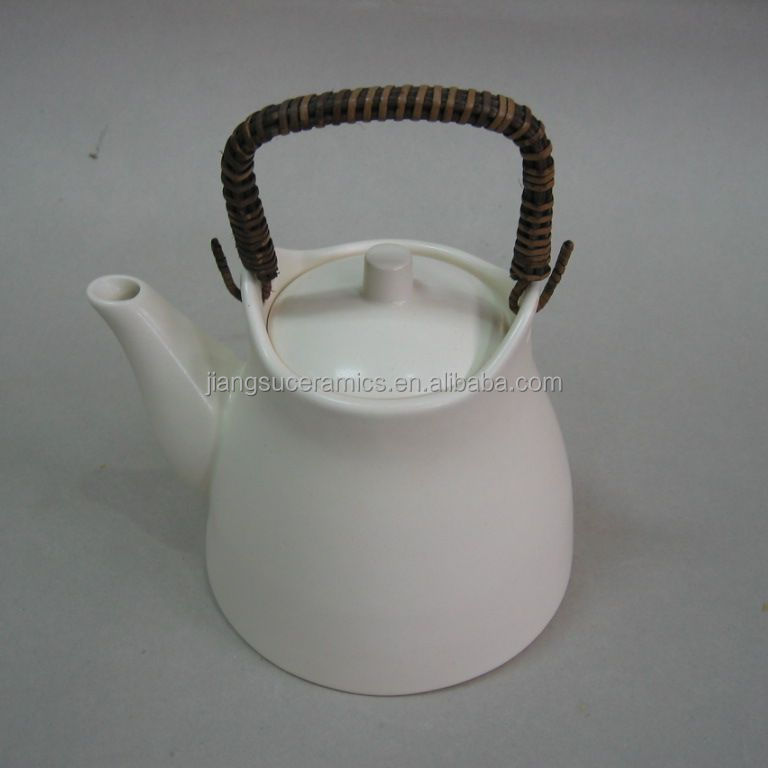 heat-resistant white color ceramic teapot antique style kettle for tea coffee