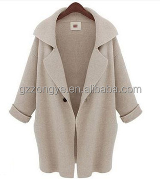 2015 lady hot sell Lapel Swing Coat knit Long tops OEM supply manufacturer in guangzhou