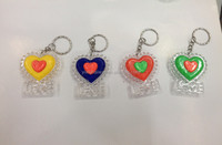 very beautiful small plastic flashing heart keychain toy