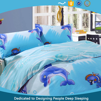 china dolphin print cotton king size 3d bedding set