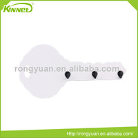 Personalized printing die cut key shape 3 black color hooks white melamine board smart board whiteboard