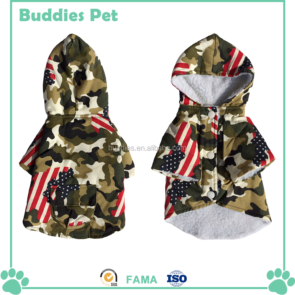 Hooded Plush Camouflage The Stars and Stripes Pet Coat