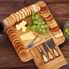 Bamboo Cheese Board & Cutlery Knife Set with Slide-Out Drawer