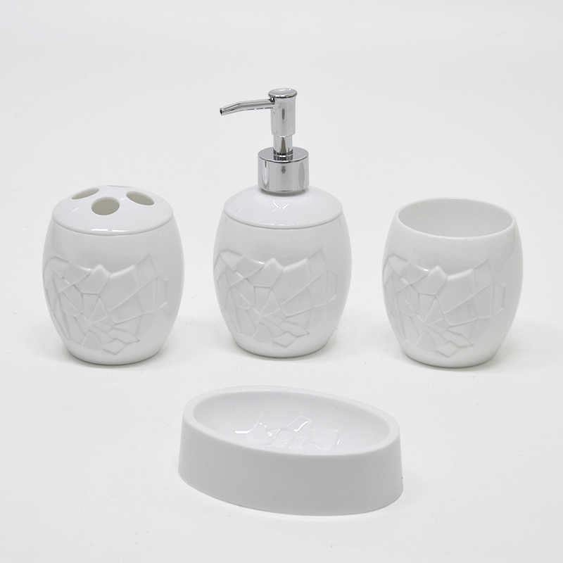Asian Plastic Colored Simple Oval White Pattern Bathroom Accessories Set