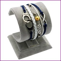 Fashion Jewelry America and Italy Hot Selling infinity Leather Bracelet Supplies