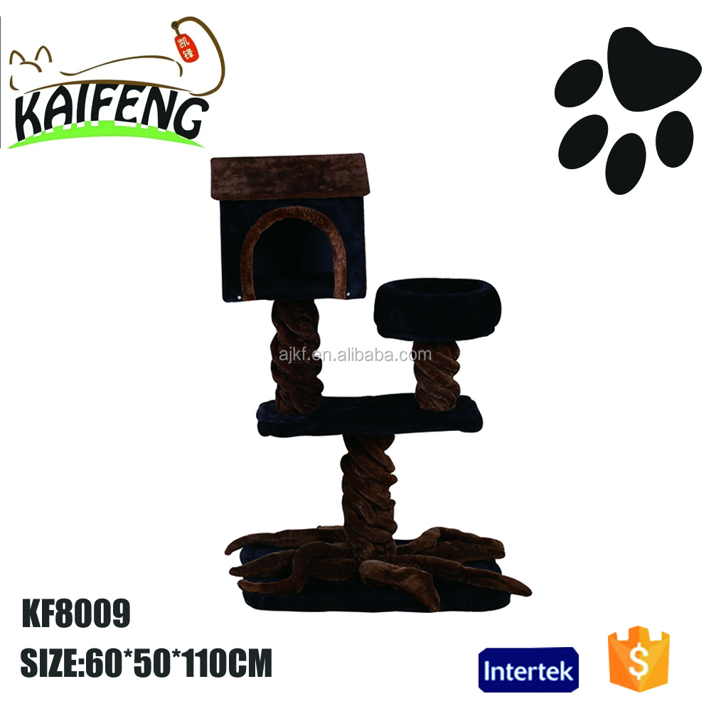 KF8009 cute design modern craft wooden cat furniture,plush indoor cat tree,pet accessories for cat